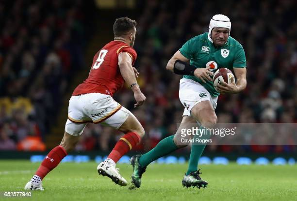Rory Best of Ireland takes on Rhys Webb during the RBS Six Nations match between Wales v Ireland at the Principality Stadium on March 10 2017 in...