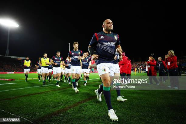 Rory Best of the Lions leads the team in ahead of the match between the Chiefs and the British Irish Lions at Waikato Stadium on June 20 2017 in...
