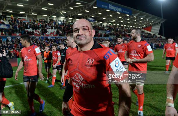 Rory Best of Ulster leads the team on a lap of honour after the Champions Cup match between Ulster Rugby and Racing 92 at Kingspan Stadium on January...