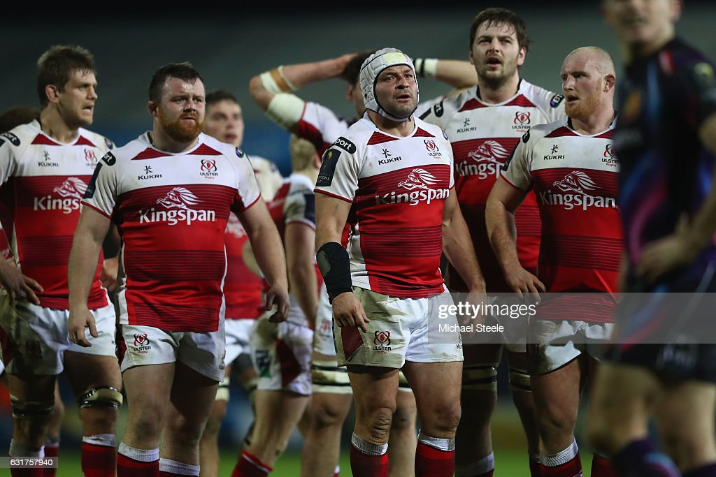 Rory Best (C) of Ulster looks on during the European Rugby Champions Cup Pool 5 match between Exeter Chiefs and Ulster at Sandy Park on January 15, 2017 in Exeter, United Kingdom.
