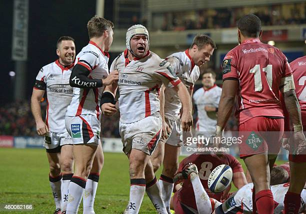 Rory Best of Ulster shouts in celebration after he goes over for a bonus try during the European Rugby Champions Cup match between Ulster Rugby and...