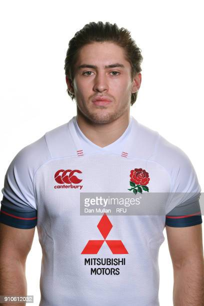 Rory Brand of England poses for a portrait during the England U20 Squad Photo call at Bisham Abbey on January 10 2018 in Marlow England