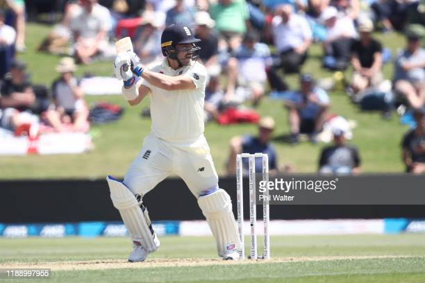 Rory Burns of England bats during day one of the first Test match between New Zealand and England at Bay Oval on November 21 2019 in Mount Maunganui...