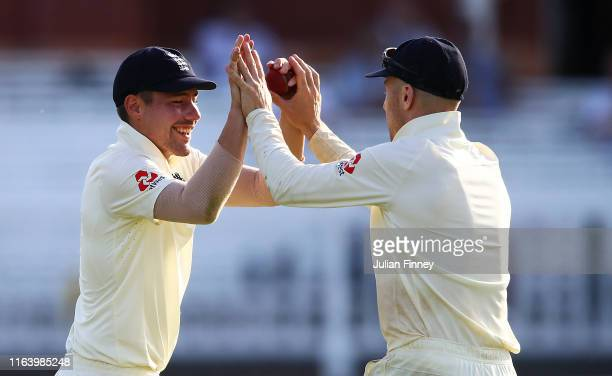 Rory Burns of England catches out Tim Murtagh of Ireland off the bowling of Olly Stone of England during day one of the Specsavers Test Match between...