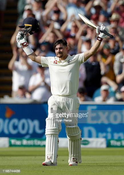Rory Burns of England celebrates after reaching his maiden test century during day two of the 1st Specsavers Ashes Test between England and Australia...