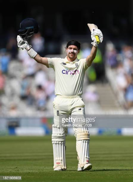 Rory Burns of England celebrates reaching his century during Day 4 of the First LV= Insurance Test Match between England and New Zealand at Lord's...