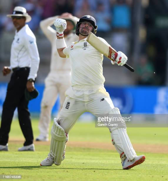 Rory Burns of England celebrates reaching his century during day two of the 1st Specsavers Ashes Test between England and Australia at Edgbaston on...