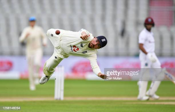 Rory Burns of England dives in vain for the catch of Shane Dowrich of West Indies during Day Two of the Ruth Strauss Foundation Test, the Third Test...
