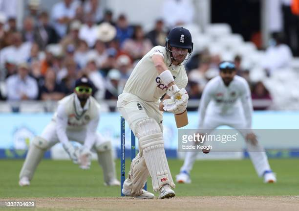 Rory Burns of England hits out during day three of the First LV= Insurance test match between England and India at Trent Bridge on August 05, 2021 in...