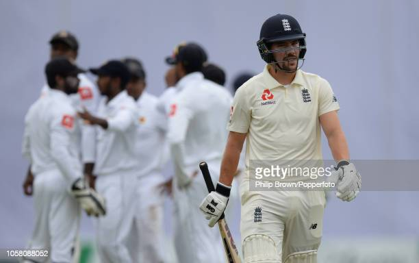 Rory Burns of England leaves the field after being dismissed during the 1st Cricket Test Match between Sri Lanka and England at the Galle Cricket...