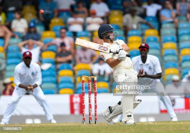 Rory Burns of England takes evasive action during day 4 of the 1st Test between West Indies and England at Kensington Oval, Bridgetown, Barbados, on...
