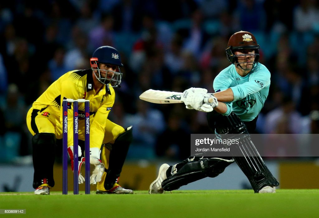 Rory Burns of Surrey bats as Phil Mustard of Gloucestershire keeps wicket during the NatWest T20 Blast match between Surrey and Gloucestershire at The Kia Oval on August 17, 2017 in London, England.