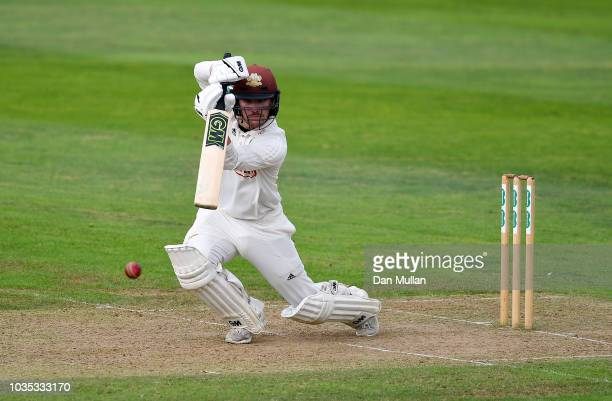 Josh Davey of Somerset runs in to bowl during day one of the Specsavers County Championship Division One match at The Cooper Associates County Ground...