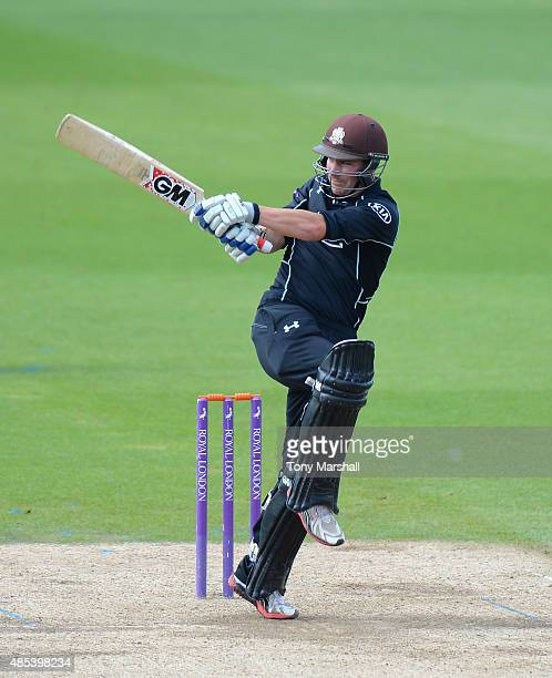 Rory Burns of Surrey bats during the Royal London OneDay Cup Quarter Final match between Surrey and Kent at The Kia Oval on August 27 2015 in London...