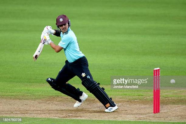 Rory Burns of Surrey bats during the Vitality T20 Blast match between Surrey and Essex Eagles at The Kia Oval on June 21, 2021 in London, England.