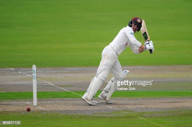 Rory Burns of Surrey batting during the County Championship Division One match between Lancashire and Surrey at Old Trafford on September 25 2017 in...