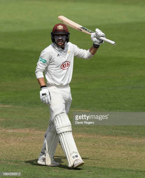 Rory Burns of Surrey celebrates his 150 during the Specsavers County Championship division one match between Nottinghamshire and Surrey at Trent...