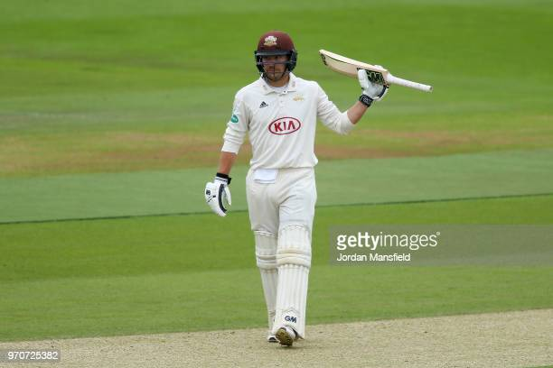 Rory Burns of Surrey celebrates his 150 during the Specsavers County Championship Division One match between Hampshire and Surrey at Ageas Bowl on...
