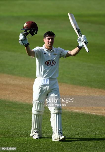 Rory Burns of Surrey celebrates his century during day one of the Specsavers County Championship Division One match between Surrey and Worcestershire...