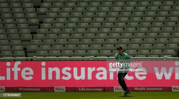 Rory Burns of Surrey drops a catch from the bat of Samit Patel of Notts during the Vitality T20 Blast Final between Surrey and Notts Outlaws at...