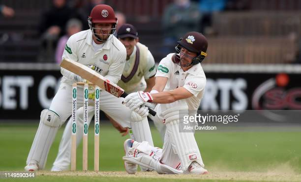 Rory Burns of Surrey gets struck in the helmet during Day Three of the Specsavers County Championship match between Somerset and Surrey at The Cooper...