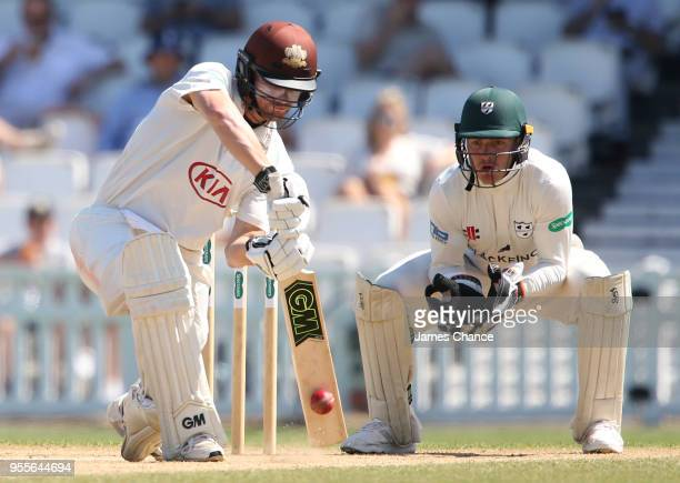 Rory Burns of Surrey in action during the Specsavers County Championship Division One match between Surrey and Worcestershire at The Kia Oval on May...