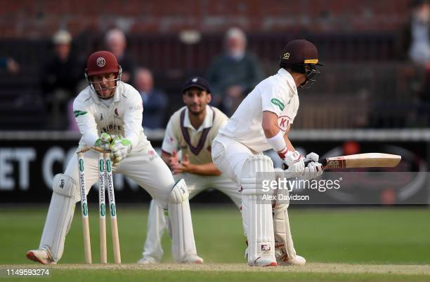 Rory Burns of Surrey is stumped by Steve Davies of Somerset during Day Three of the Specsavers County Championship match between Somerset and Surrey...
