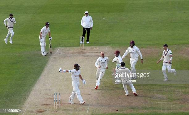 Rory Burns of Surrey is stumped by Steve Davies of Somerset off the bowling of Jack Leach of Somerset during Day Three of the Specsavers County...