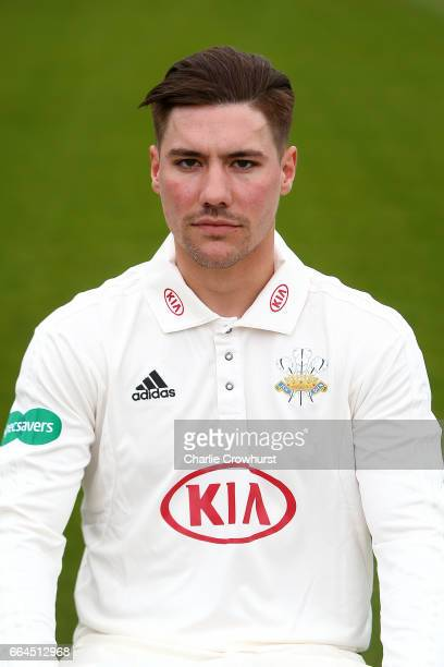 Rory Burns poses in the Specsavers County Championship kit during the Surrey CCC Photocall at The Kia Oval on April 4 2017 in London England