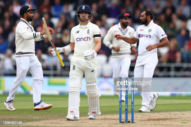 Rory Burns shows his frustration after being bowled by Mohammed Shami of India during day two of the Third Test Match between England and India at...
