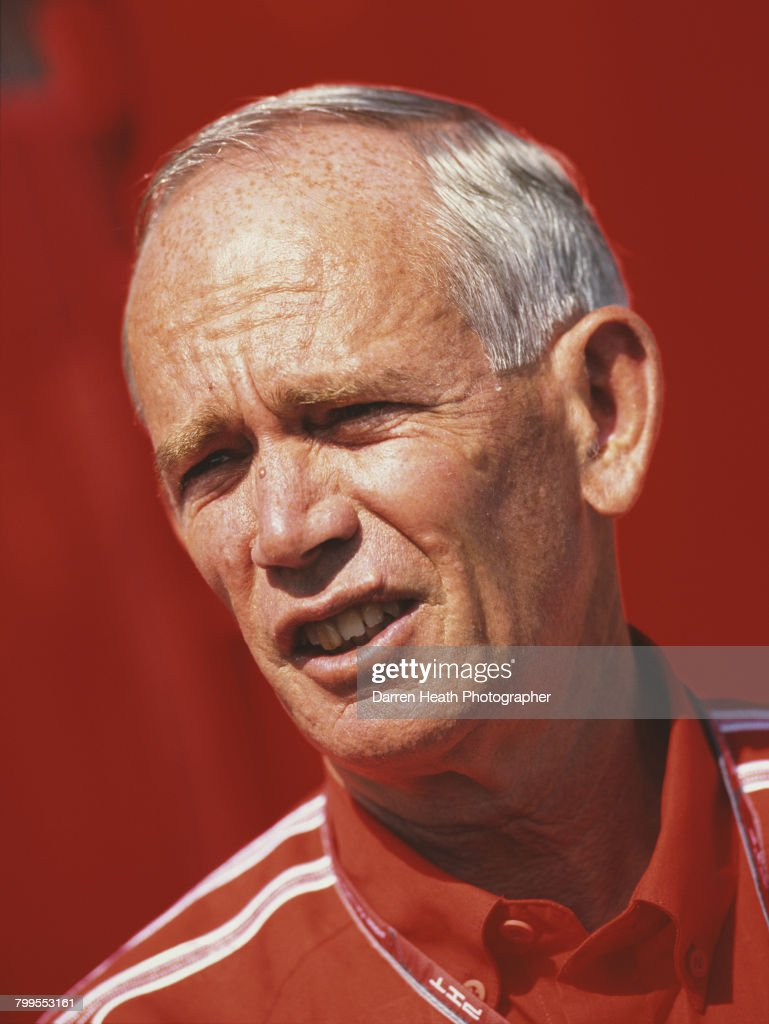 Rory Byrne, a South African engineer and car designer for Scuderia Ferrari Formula One team and the Scuderia Ferrari Marlboro Ferrari 248 F1 Ferrari V10 at the Formula One Italian Grand Prix on 10 September 2006 at the Autodromo Nazionale Monza, Monza, Italy.