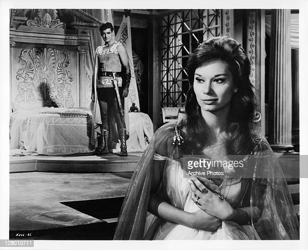 Rory Calhoun shares an attraction with Lea Massari in a scene from the film 'The Colussus Of Rhodes', 1961.