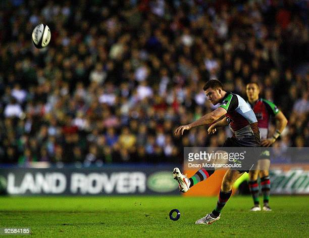 Rory Clegg of Harlequins converts the penalty in the final seconds to tie the Guinness Premiership match between Harlequins and London Irish 99 at...