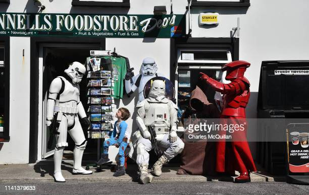 Rory Conway chats with members of the 501st Garrison Ireland Legion dressed as Star Wars characters on May 5 2019 in Portmagee Ireland The latest...