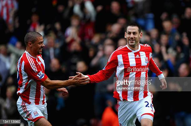 Rory Delap of Stoke City celebrates his goal with Jonathan Walters during the Barclays Premier League match between Stoke City and Blackburn Rovers...