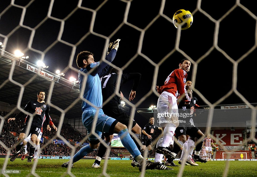 Rory Delap of Stoke City scores the opening goal during the Barclays Premier League match between Stoke City and West Bromwich Albion at The Britannia Stadium on February 28, 2011 in Stoke on Trent, England.