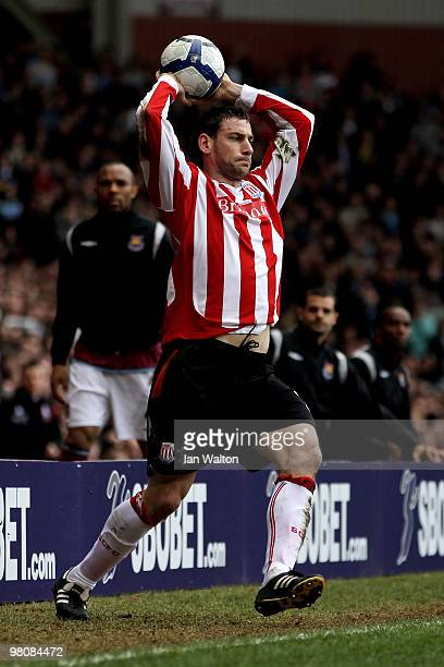 Rory Delap of Stoke takes a shortened run up for his throw in due to extra advertising boards being placed around the pitch during the Barclays...