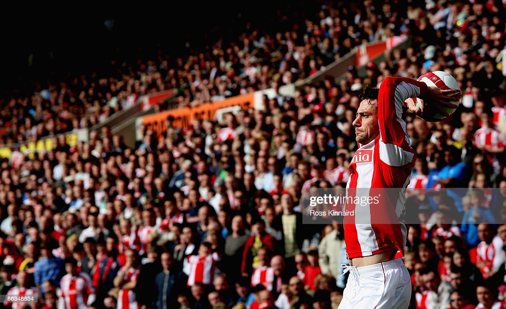 Rory Delap of Stoke unleashes a long throw during the Barclays Premier League match between Stoke City and West Ham United at the Britannia Stadium on May 2, 2009 in Stoke, England.