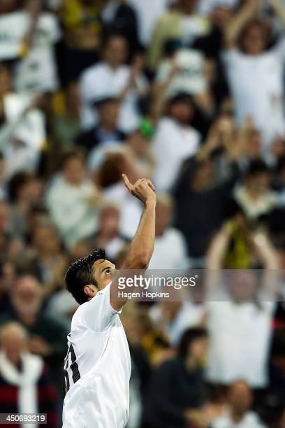 Rory Fallon of New Zealand celebrates after scoring a goal during leg 2 of the FIFA World Cup Qualifier match between the New Zealand All Whites and...