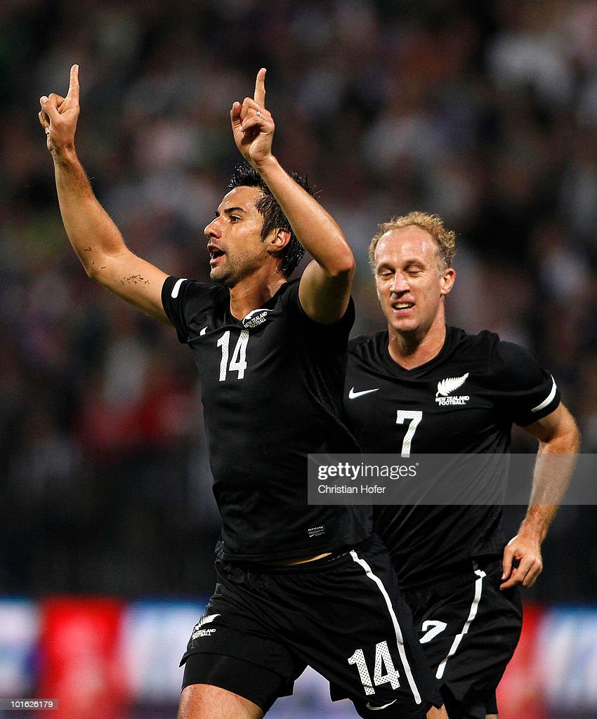 Rory Fallon of New Zealand celebrates his first goal during the International Friendly match between Slovenia and New Zealand at the Stadion Ljudski vrt on June 4, 2010 in Maribor, Slovenia.