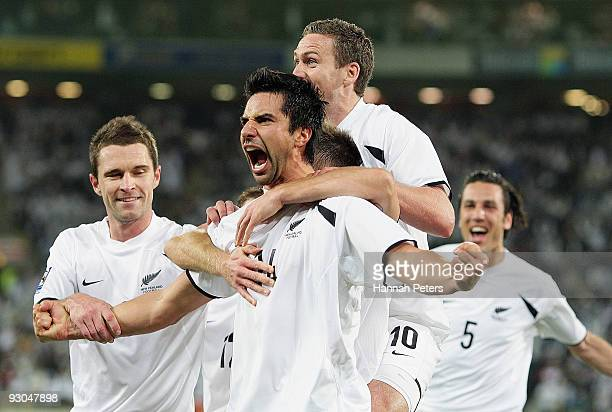 Rory Fallon of the All Whites celebrates scoring during the FIFA World Cup Asian Qualifier match between New Zealand and Bahrain at Westpac Stadium...
