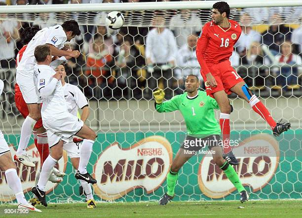 Rory Fallon of the All Whites heads in the ball to score during the 2010 FIFA World Cup Asian Qualifier match between New Zealand and Bahrain at...