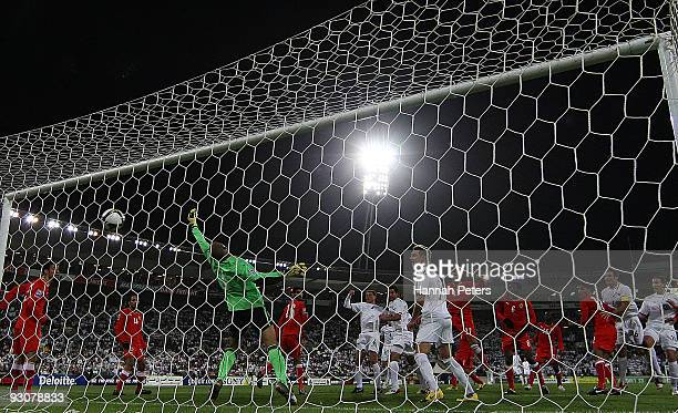 Rory Fallon of the All Whites heads the ball past Sayed Mohamed Jaffar of Bahrain during the FIFA World Cup Asian Qualifying match between New...