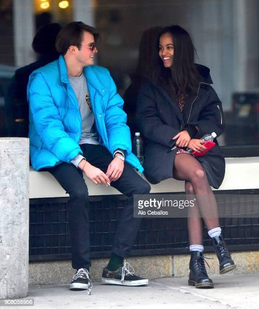 Rory Farquharson,Malia Obama are seen on January 20, 2018 in New York City.