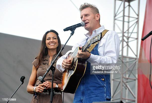 Rory Feek and Joey Feek of the band Joey & Rory perform on the Chevrolet Riverfront Stage during the 2013 CMA Music Festival on June 9, 2013 in...