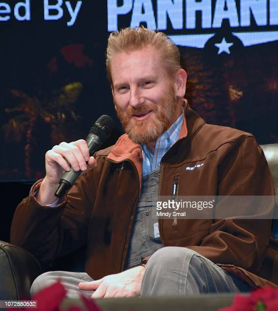 """Rory Feek speaks onsatge during the """"Outside the Barrel"""" with Flint Rasmussen show during the National Finals Rodeo's Cowboy Christmas at the Las..."""