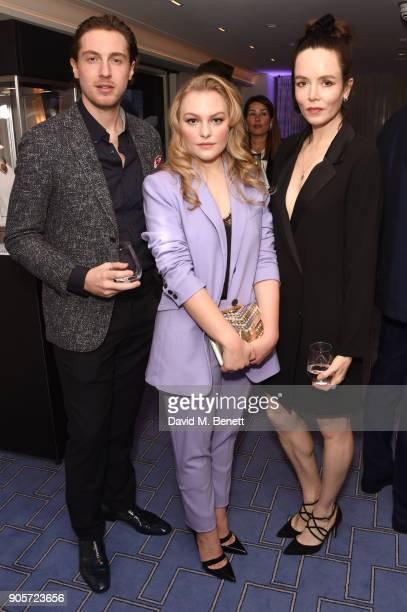 Rory Fleck Byrne Ciara Charteris and Valene Kane attend the Niquesa PreBAFTA dinner at Claridge's Hotel on January 16 2018 in London England