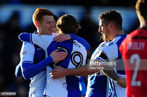 Rory Gaffney of Bristol Rovers celebrates his sides first goal during the Emirates FA Cup Second Round match between Bristol Rovers and Barrow FC at...