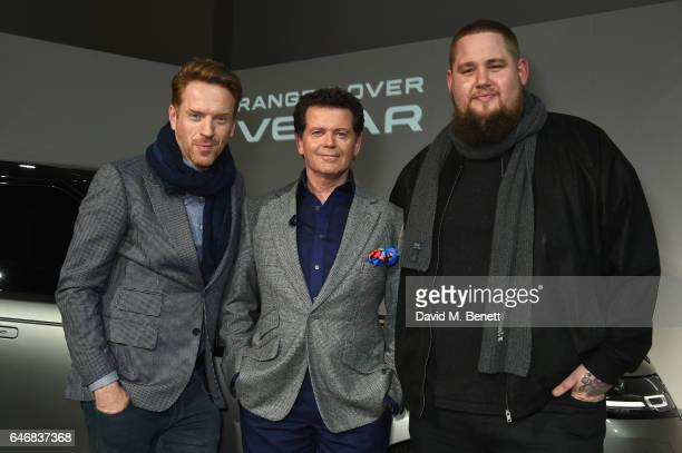 Rory Graham AKA Rag'n'Bone Man Design Director of Jaguar Land Rover Gerry McGovern and Damian Lewis attend the world premiere launch of the new Range...