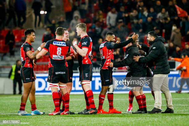 Rory Grice of Oyonnax and Daniel Ikpefan of Oyonnax and Ulupano Seuteni of Oyonnax and James Robert Hall of Oyonnax during the Top 14 match between...